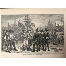 19thc Bookplate Engraving, The Surrender of Jamestown