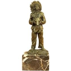 "Miniature Vienna Bronze Sculpture of Native Chief or Shaman w/ Animal Skull 9.5"" x 4"""