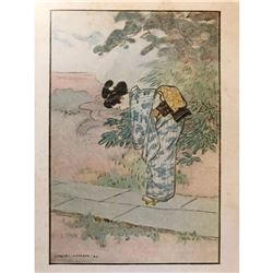 Early 1900's Japanese Book Plate Print, Little Sister Snow