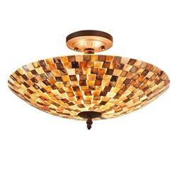 """SHELLEY"" Mosaic 2 Light Semi-flush Ceiling Fixture 16"" Shade"
