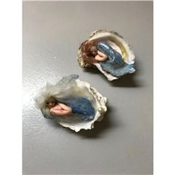 Pair of Artisan Polymer Clay Sculpture Dolls, Mermaids in Oyster Shells