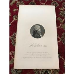19thc Steel Engraving, Founding Father & President of the United States, Thomas Jefferson