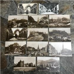 Group of Early 1900's Sepia Grand Tour Travel Postcards, Edinburgh Scotland
