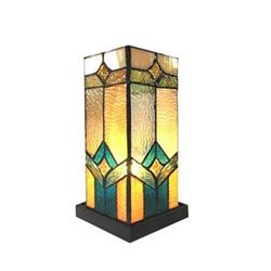 """GREGORY"" Tiffany-glass Accent Pedestal 1 Light Mission table lamp 11"" Tall"