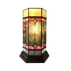 """NEILSON"" Tiffany-glass Accent Pedestal 1 Light Mission table lamp 14"" Tall"
