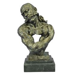 "Gagged Man Muscular Male Torso Abstract Bronze Sculpture 14"" x 8"""