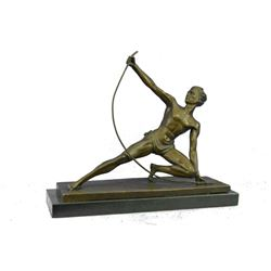 "APOLLO w/ Bow Muscular Male Archer Bronze Sculpture 15"" x 16.5"""