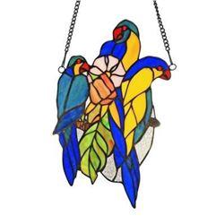 """BLUETAIL"" Tiffany-glass Window Panel 13"""