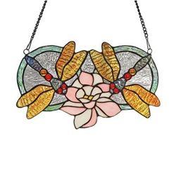 """""""ODONATA"""" Tiffany-glass Dragonfly Window Panel 13x22"""