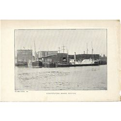 Vintage c1920's half-tone print by Perry Pictures, #197 Constitution Wharf, Boston