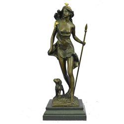 "Diana The Huntress & Puppy Dog Bronze Sculpture 14"" x 5"" (Gold Accent"