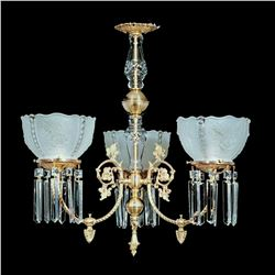 """3 Light Brass and Crystal Victorian Chandelier - 25"""" x 23"""""""