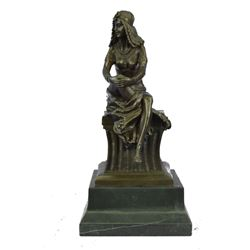"""Egyptian Queen Cleopatra Semi-Nude Bronze Sculpture 15"""" x 7.5"""""""