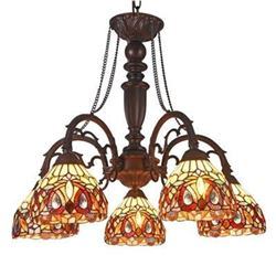 "Tiffany-style 5 Light Victorian Large Chandelier 27"" Wide"