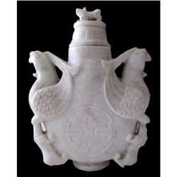 Carved Soapstone Double Phoenix Vase