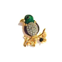 Enamel & Crystal Tropical Bird Parrot Brooch Pin