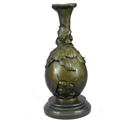 "Floral Bronze Art Noveau Decorative Vase 13"" x 6"""