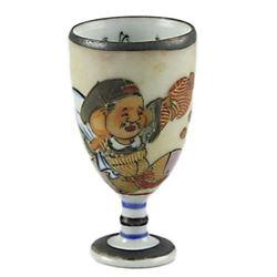 Vintage Japanese Porcelain Footed Sake Cup