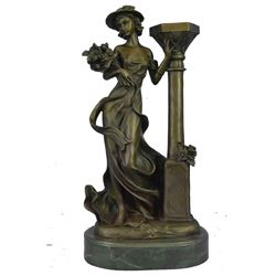 """Bronze Sculpture of Fashionable Girl in Hat holding Flower Bouquet 16"""" x 8"""""""