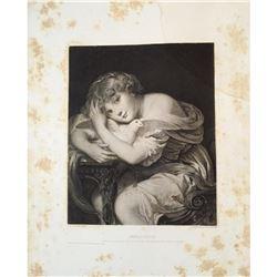 1880's Photogravure, Child & Pet Pigeon
