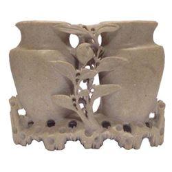 Chinese Soapstone Dual Brush Wash Vase