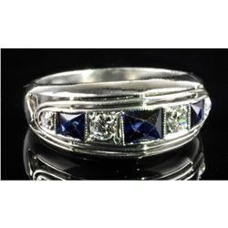 Platinum Brilliant Cut Natural Blue Sapphires And Diamonds Ladies Ring