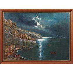 """Moiriossy, """"Night Scene On The Riviera,"""" Oil On Canvas"""