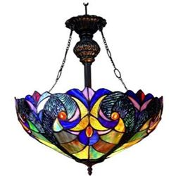 """Victorian 2 Light Inverted Ceiling Pendant Fixture 18"""" Shade"""