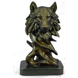 """Abstract Wolves Head Bronze Metal Wolf Bust Sculpture on Marble Base 12"""" x 7"""""""