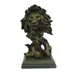 "Abstract Male Lion Head Bronze Bust Sculpture 12"" x 7"""