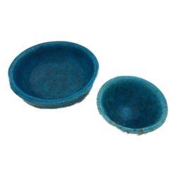 Signed Lachenal Egyptian Blue Pottery Bowls