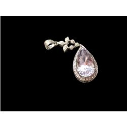 20Ct. One of a Kind, Designer signed, r bianco 18kt White Gold and diamond pendant. Teardrop mount h