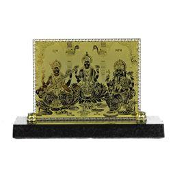 "Hindu Goddess PARVATI Saraswati Lakshmi Gold & Silver Plate Bas Relief Sculpture 5.5"" x 7.5"""