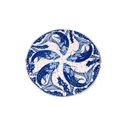 "Blue White Glazed Pottery Fish Koi Carp Catfish 6 1/4"" Round Trivet Hot Plate"
