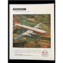 1956 Rubber Company, Enjay Butyl, Douglas DC-7 Airplane Magazine Ad
