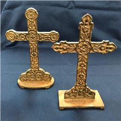 Pair of Ornate Standing Iron Crosses