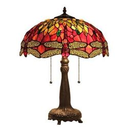 "Tiffany-style Dragonfly 2 Light Table Lamp 18"" Shade"