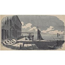 """Antique Print """" The Gorge Of Fort Sumter"""""""