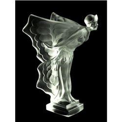 After Hoffmann, Art Deco Butterfly Girl Bohemian Glass Car Mascot, Rolls Royce Statue Figure