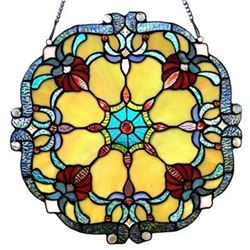 "Victorian Tiffany-glass Window Panel 18"" Wide"