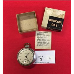 WORKING. Westclocx Day Pocket Watch In Original Box. Missing Second Hand