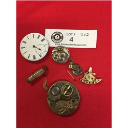 Small Lot of Pocket Watch Pieces. Great for Steampunk Look!