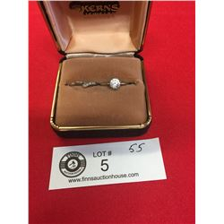 Nice Wedding Ring Set. Size 6.5 In a box. Silver Plated with a Cubic Zirconia