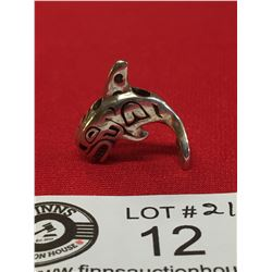 Very Nice Sterling Silver Killer Whale Pendant. West Coast Native Piece. 1x1