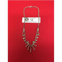 Vintage 1950's Rhinestone Necklace. Marked Continental