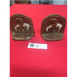 """Antique Cast Iron """" End of the Trail"""" Bookends"""