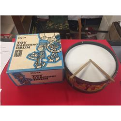 Vintage Toy Marching Drum with Original Box and Drum Sticks