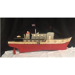 Vintage Very Large Folk Art Tin Cruise Ship  36 x 17x 7 * No Shipping*