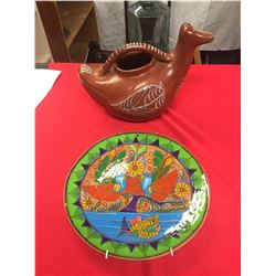 Vintage 1940's Tlsquepsque Mexico Red Clay Duck Pitcher Plus Vintage Wall Plate