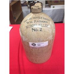 Antique W.M. Radam's Microbe Killer No. 2 Stoneware 1 Gallon Jug 1900's